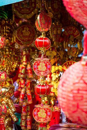 Red Chinese decoration for sale in the Thai capital Bangkok.