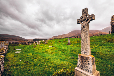 Isle of Skye, UK - October 13, 2017: Old celtic graveyard on the Isle of Skye, Scotland, UK. Editorial