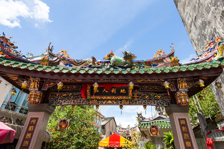 Chiang Mai, Thailand - October 26, 2017: The traditional chineese gateway structure - pailou, at the sunny day
