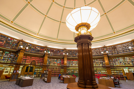 Liverpool Central Library inside a beautiful round reading room with a lot of books Editorial