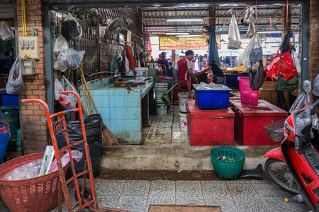 Chiang Mai, Thailand - October 30, 2017: The back kitchen in the market is dirty and a lot of mess there