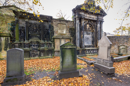 Edinburgh, Scotland - October 10, 2017: Greyfriar's Kirk, an ancient and spooky cemetery just behind the Grassmarket area. Editorial