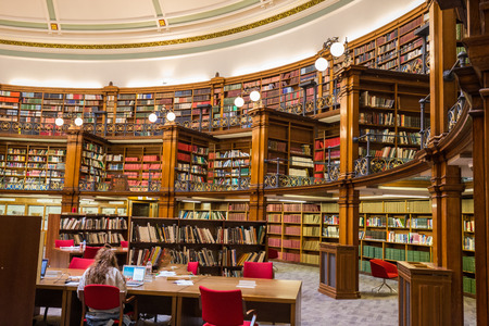 Liverpool UK - October 20 2017: Liverpool Central Library inside a beautiful round reading room with a lot of books Editorial