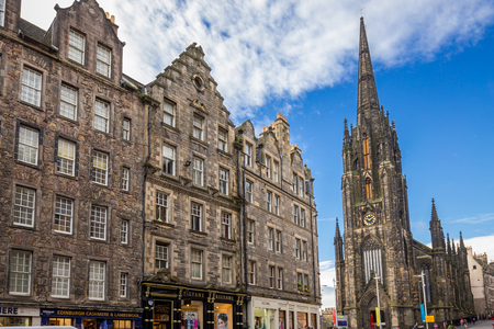 Edinburgh, Scotland - October 10, 2017: View on the historic Royal Mile at bright sunny day. Editorial
