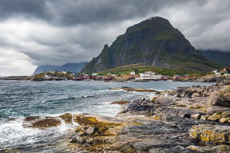 """Rugged beach at Ã… (meaning """"stream"""") is a village in Moskenes Municipality in Nordland county, Norway. This is last town on Lofoten islands by highway called King Olav's Road."""