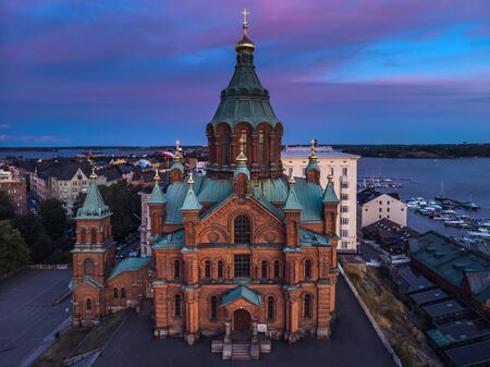 Aerial view of Uspenski Cathedral, Helsinki Finland. Tours in Helsinki. The European Union. Cold toning.