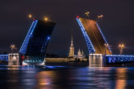 Palace Bridge, a road- and foot-traffic bascule bridge, spans the Neva River in Saint Petersburg between Palace Square and Vasilievsky Island.