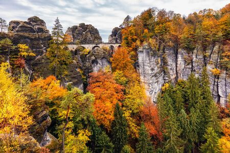 View of The Bastei bridge from the opposite side, Saxon Switzerland National Park, Germany. The Bastei bridge, Saxon Switzerland National Park.