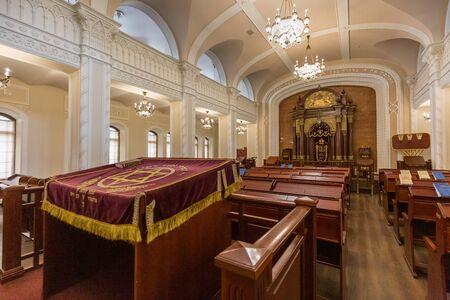 Kiev, Ukraine - July 18 2019: Brodsky Choral Synagogue interior. Jewish religion