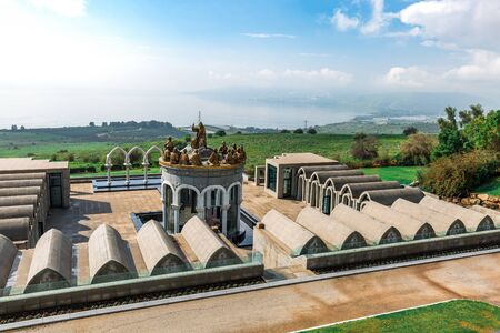 Tiberias, Israel - April 02 2019: Domus Galilaeae on the Mount of Beatitudes near the Sea of Galilee with the statues of Jesus and Twelve Apostles in Galilee, Israel Redakční