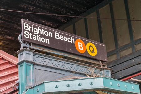 New York city, USA - 10 10 2018: Brighton beach subway station at New York city, USA.