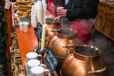 Mulled wine at traditional Christmas market on Vorosmarty Square