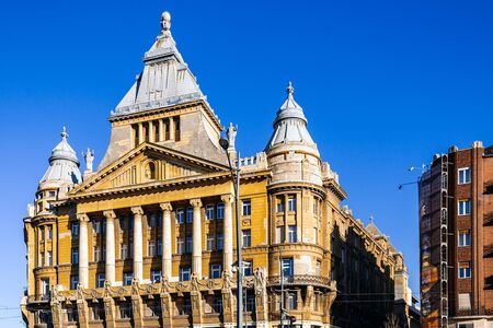 Old buildings in modern Budapest area, Hungary. Banco de Imagens