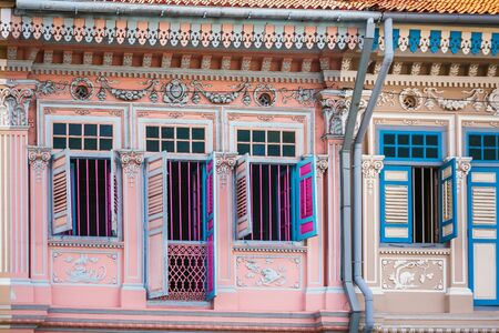 Colourful Peranakan Houses. The word Peranakan used by the local people to address foreign immigrants whom established families in Singapore, Singapore. Banco de Imagens