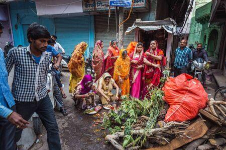 Vrindavan, India - March 12 2017: Indian woman in sari celebrating Holi festival in Vrindavan, India.