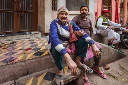 Agra, India - March 12 2017:  Indian man on the stree at Holi festival in Vrindavan, India. Editöryel