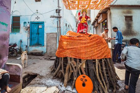 Vrindavan, India - March 12 2017: Pile of wood ready to be burned during celebration of Holi festival in Vrindavan, India.