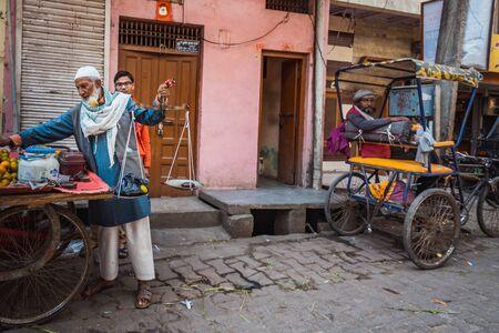 Vrindavan, India - March 12 2017: Streets during Holi festival in Vrindavan, India. Editöryel