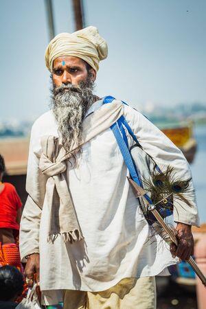 Vrindavan, India - March 12 2017: Holy man at Holi festival in Vrindavan, India.