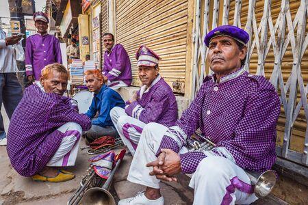 Vrindavan, India - March 12 2017: Indian band at Holi festival in Vrindavan, India. Editöryel