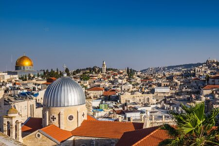 Aerial view from the roof of Austrian Hospice on the city near Western Wall and golden Dome of the Rock in Jerusalem Old City, Israel.