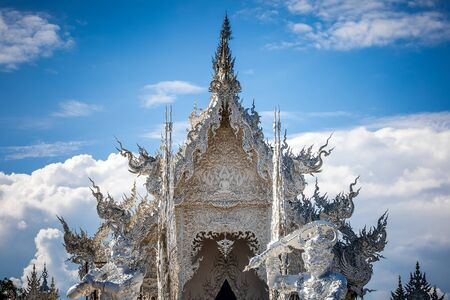 White temple Wat Rong Khun. Famous place in Thailand and popular with foreigners, Chiang Rai, Thailand,
