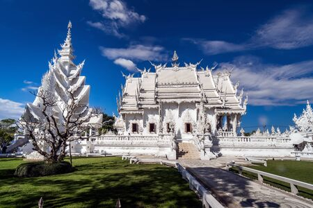 White temple Wat Rong Khun. Famous place in Thailand and popular with foreigners, Chiang Rai, Thailand, Archivio Fotografico