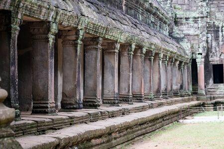 Columns of the temple ruins at Angkor Wat, Siem Reap, Cambodia.