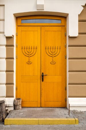 Door of a Great Choral Synagogue in Grodno, Belarus.
