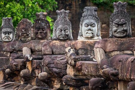 Old khmer statues at Angkor Wat, Siem Reap, Cambodia.