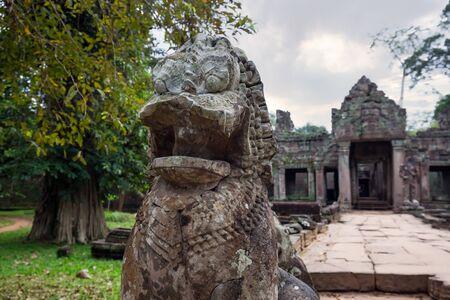 Statues at temple ruins of Angkor Wat, Siem Reap, Cambodia.