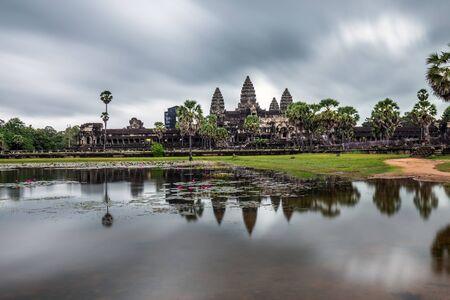 Cloudy sunrise over Angkor Wat, Siem Reap, Cambodia.