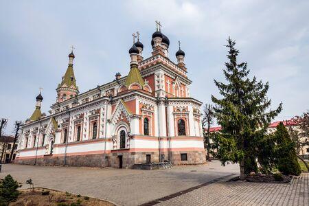 Neo-Russian style Catholic Orthodox Cathedral (Pokrovsky Sobor) in Grodno, Belarus. 版權商用圖片