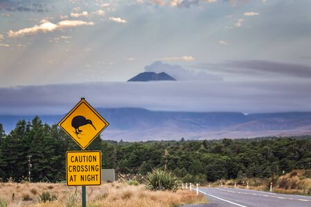 Kiwi sign with mountains at the background near Tongariro Alpine Crossing, New Zealand.