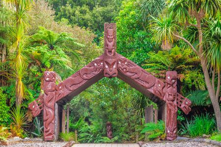 Traditional maori carving at Rotorua, New Zealand