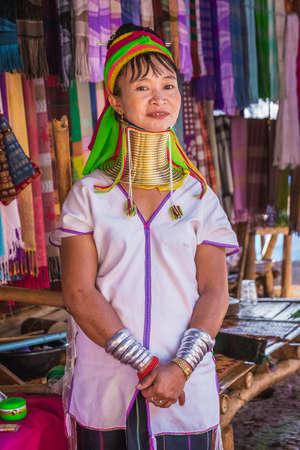 Long-necked Karen girl wearing ttraditional clothes. Chiang Rai, Thailand - November 15, 2017. Editorial