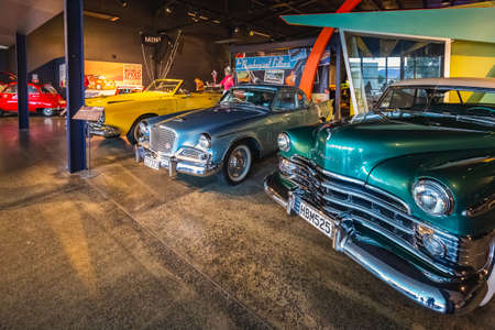Classic cars at World of Wearable Art, Nelson, New Zealand. Museum. Nelson, New Zealand - December 31 2017. Editorial