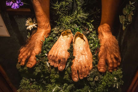 Hobbit's feet at the Weta Cave tour. Company for special effects of the Lord of the Rings. Wellington, New Zealand - January 11 2018.