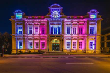Neoclassical Oamaru Opera House building with night illumination. Oamaru, New Zealand - January 07 2018.
