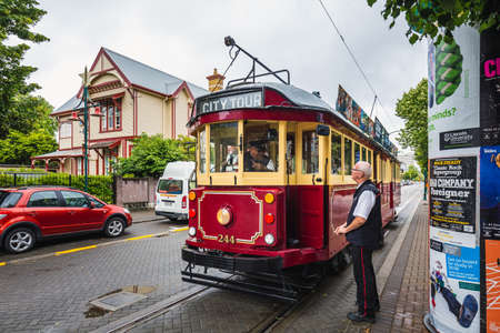 Restored heritage tram at Cathedral square. New Zealand, South Island. Christchurch, Canterbury Region. Christchurch, New Zealand - December 26 2017.