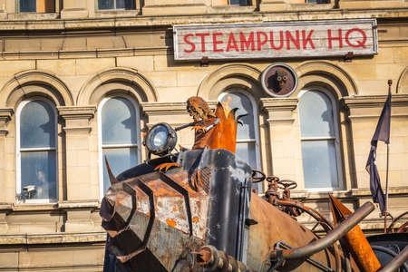 Train near Steam Punk Headquarter museum. Oamaru, New Zealand - December 20 2017.