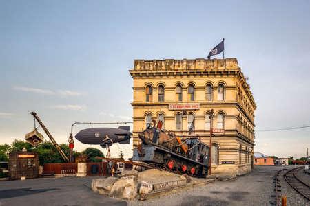 Train near Steam Punk Headquarter museum. Oamaru, New Zealand - January 05 2018.