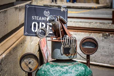 Scrap art near SteamPunk Headquarter museum. Oamaru, New Zealand - January 07 2018. Editorial