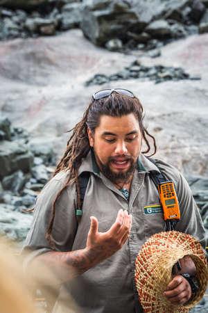 Local Maori guide looking like Aquaman. Franz Josef Glacier, New Zealand - January 02 2018.