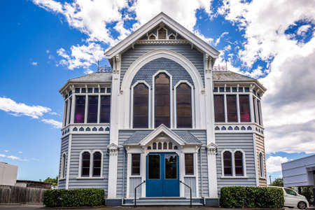 A historic heritage building at Founders Park, Nelson. Nelson, New Zealand - 12 27 2017.