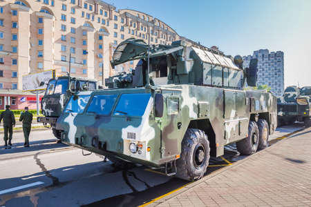 Preparations of military vehicles for the celebration of the 75th anniversary of the victory in the Great Patriotic War, parade of May 9 in Minsk, Belarus. Minsk, Belarus - May 9 2020. 新闻类图片