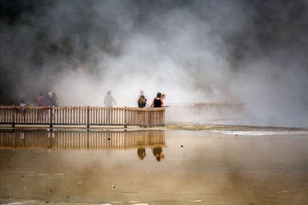 The Champagne Pool Wai-O-Tapu or Sacred Waters - Thermal Wonderland Rotorua New Zealand. Rotorua, New Zealand - January 14 2018.