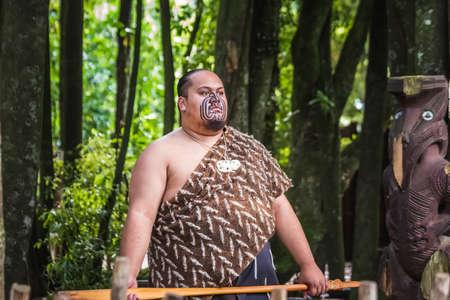 Maori tribes traditional greeting show. Vicinity of Rotorua town. The Maori are the indigenous Polynesian people of New Zealand. Rotorua, New Zealand - January 13 2018.
