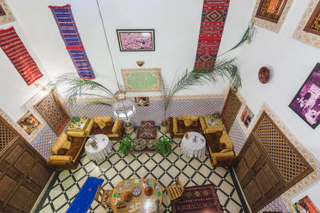 Interior of the traditional riad home. Fes, Morocco. April 09 2016.
