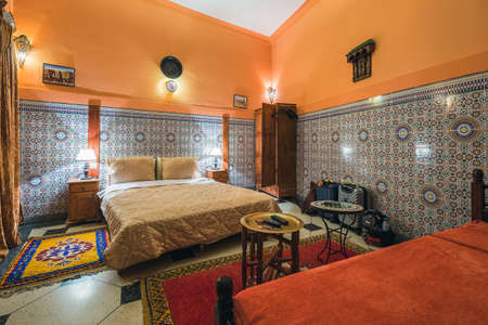 Interior of the traditional riad home. Fes, Morocco. April 09 2016. Foto de archivo - 156208603